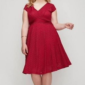 Raspberry detailed lace fit and flare lined dress